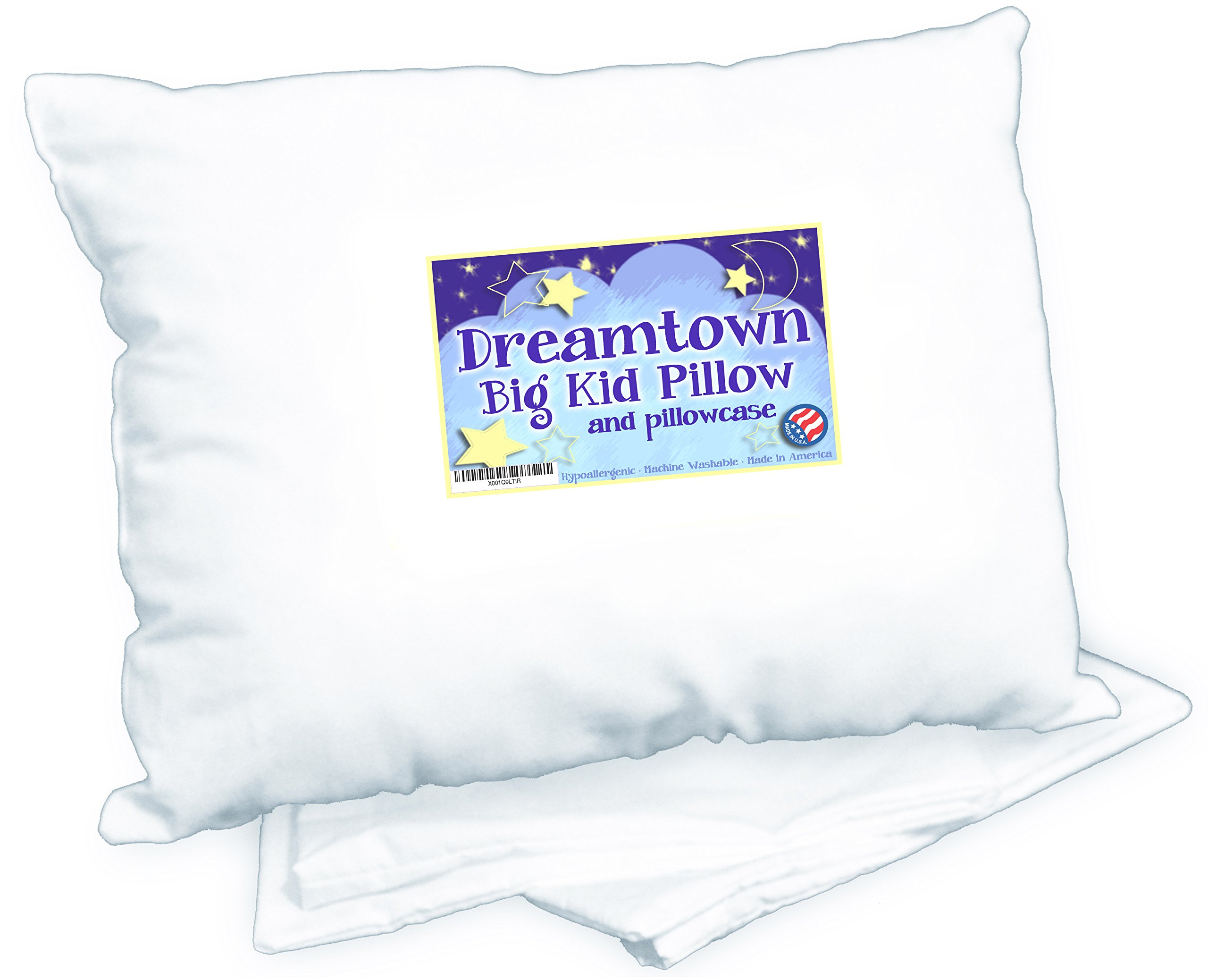 Big Kid Pillow with Pillowcase by Dreamtown Kids 16 x 22 100% Cotton Made in USA White