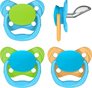 Amazon Brand - Solimo Orthodontic Baby Pacifier, Stage 3 (12-18M), BPA Free, Assorted Colors (Pack of 4)