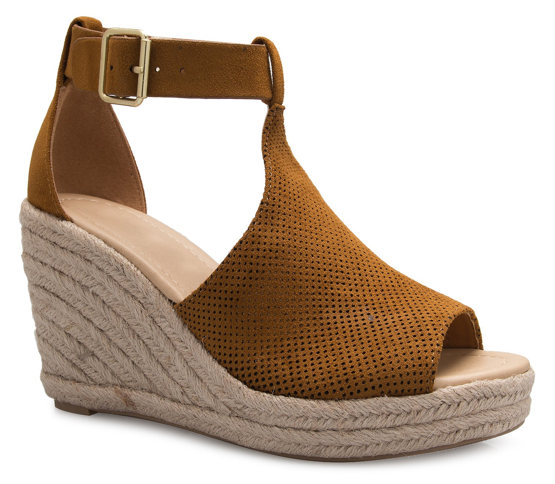 OLIVIA K Women's Sexy T-Strap Platform Wedge Sandal - Comfort, Adorable B07D5MDXKH 7 B(M) US|Tan Suede