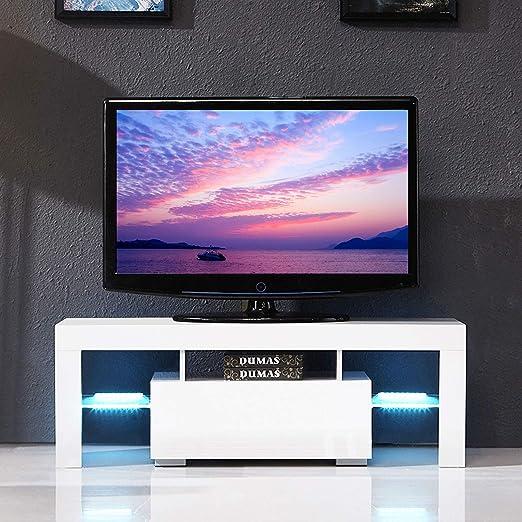 Joolihome Mueble de TV LED, Color Blanco y Negro Brillante, con 1 cajón, 3 estantes para Sala de Estar, para Pantallas de TV de hasta 51 Pulgadas: Amazon.es: Juguetes y juegos