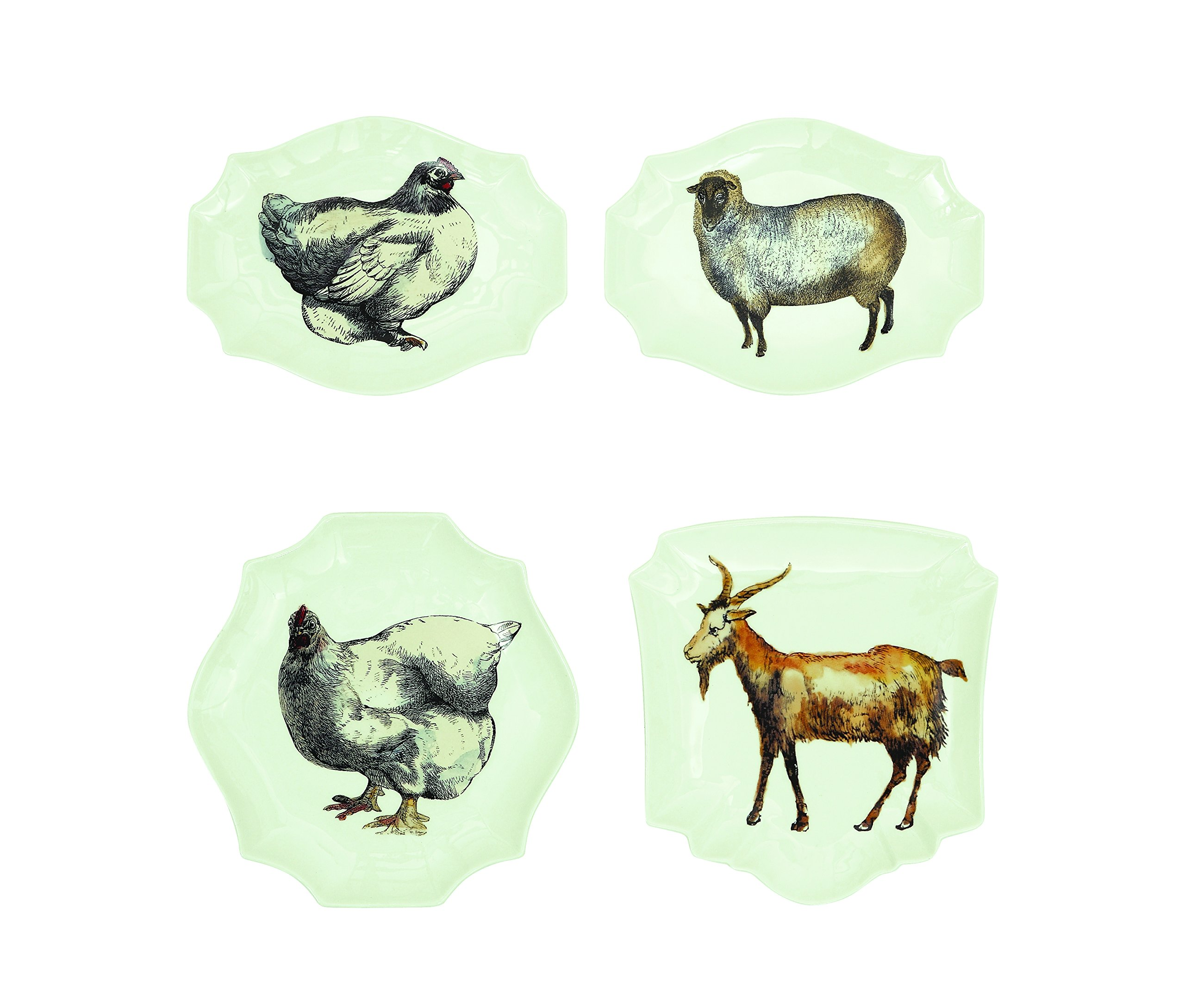 Creative Co-Op DA4192 Small Stoneware Plate Set with Animal Images, 8-Inch, Multicolor