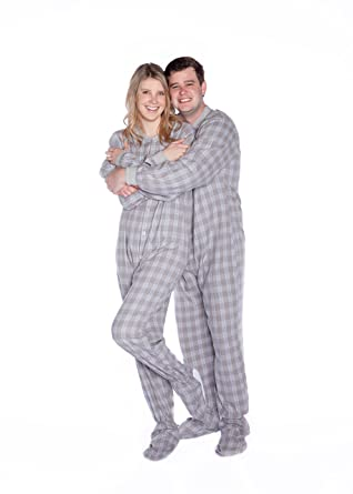 fe1d72b0d9 Grey   White Plaid Flannel Adult Footed Pajamas Drop Seat Footed ...
