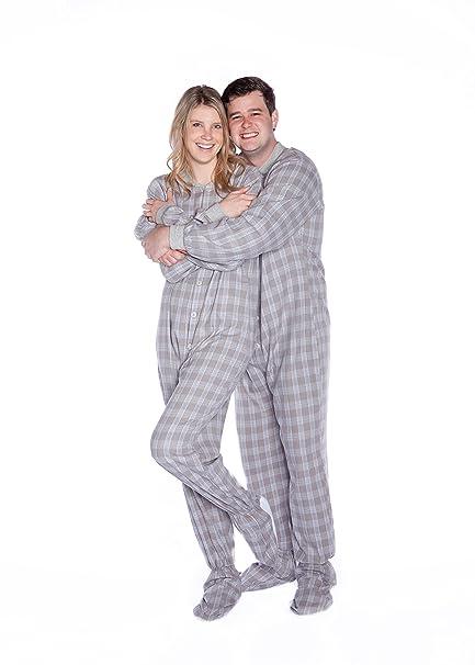 Big Feet Pyjama Co PJS Plaid algodón franela Tartan adulto patas pijamas Pequeño Gris