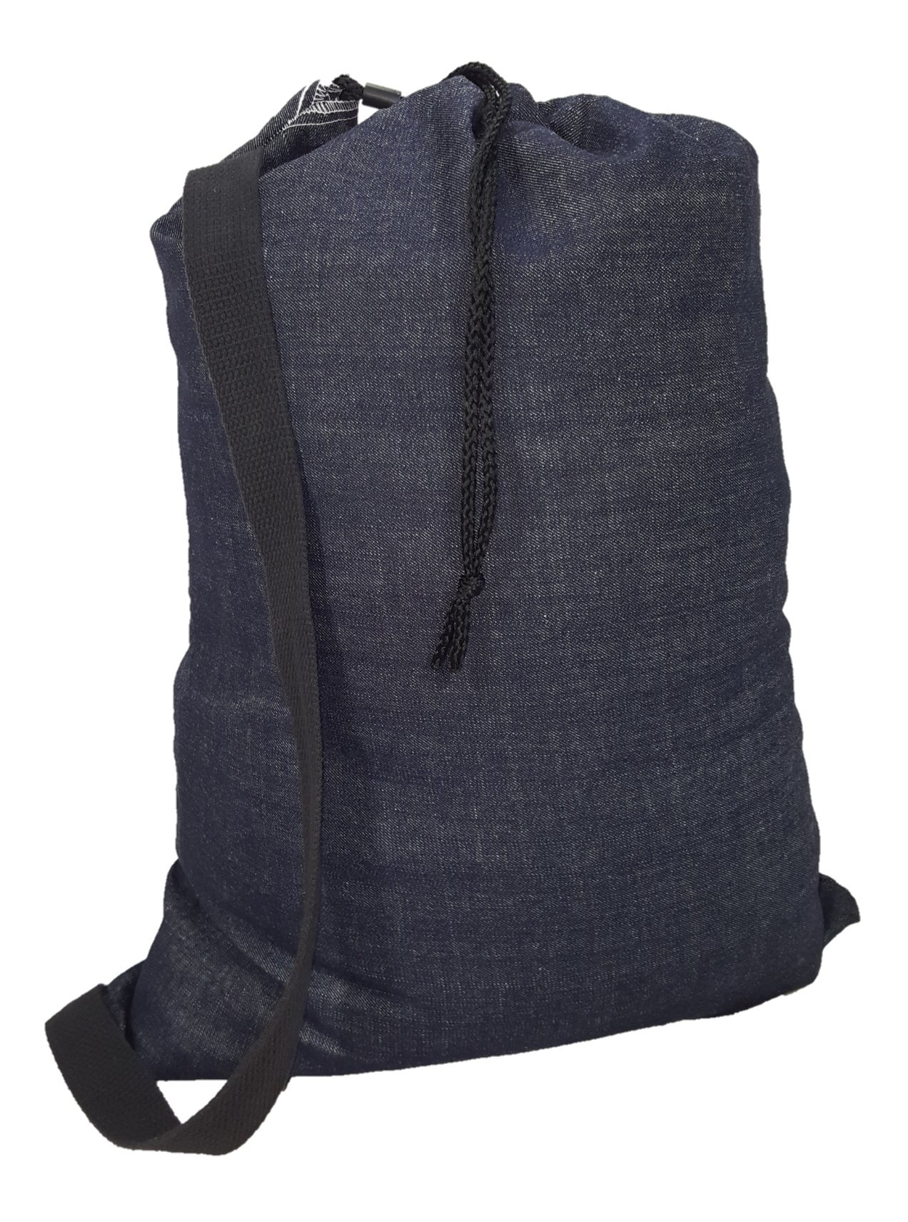 Ameratex Heavy Duty 10 oz Denim Laundry Bag with Shoulder Strap 22in x 28in - Made in the USA by Ameratex