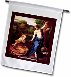 3dRose fl_42958_1 Jesus and Mary Magdalene Garden Flag, 12 by 18-Inch