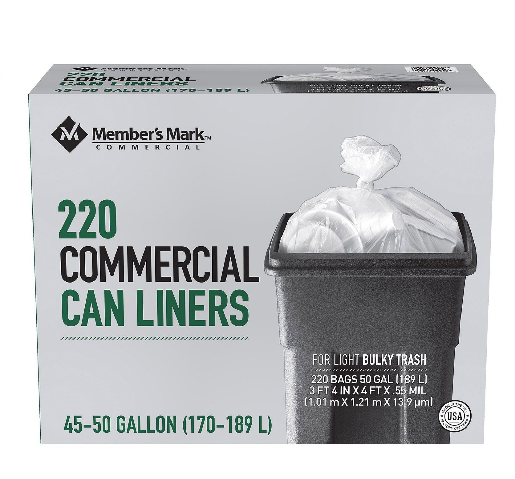 Member S Mark Tall Kitchen Simple Fit Drawstring Bags  Gallon