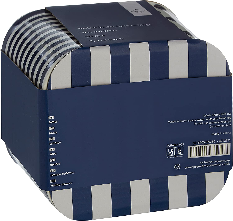 Juego de 4 Azul Premier Housewares/ /Tazas de Lunares//dise/ño de Rayas