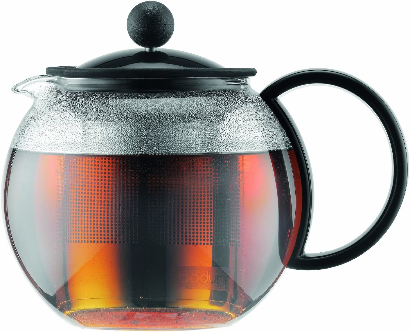Bodum Assam - Tea Press - Black Lid & Handle, Stainless Steel Filter - 0.5l, 17oz