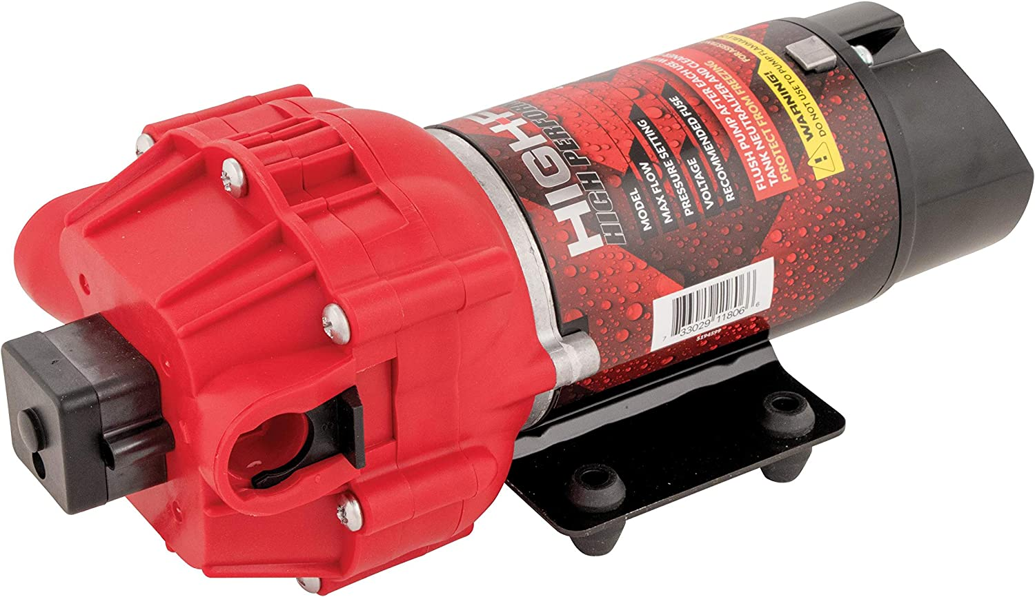 Fimco 5275087 High Flo 12 Volt Diaphragm Sprayer Pump 60 PSI Max 2.1 GPM 8 Amps Demand Switch Roundup Ready No Flammable Or Combustible Fluids with Internal Fan Cools Pump Up To 50/% During Operations