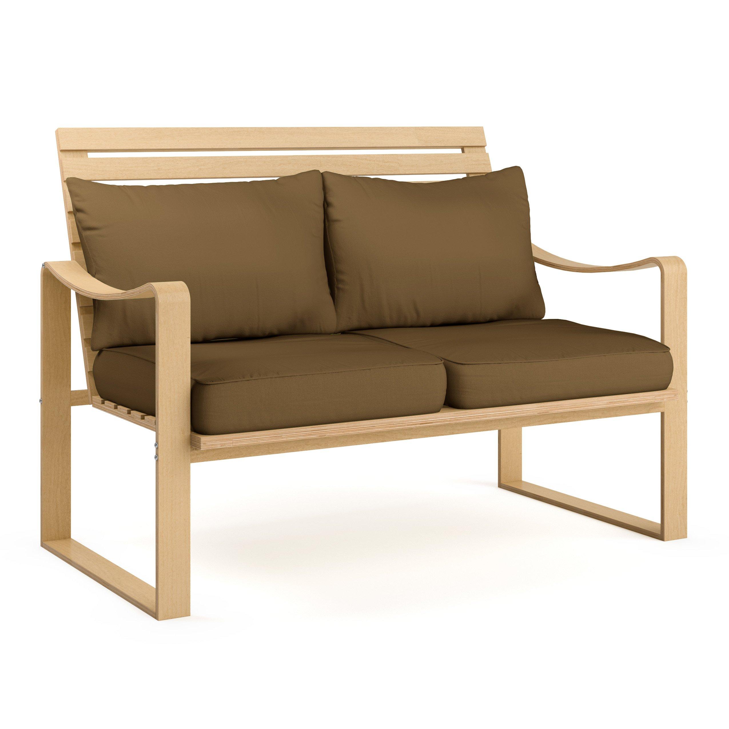 CorLiving LCQ-827-S Aquios Bentwood Sofa, Warm Brown