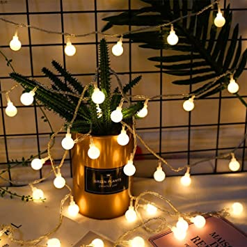 Weihnachtsbeleuchtung Led Batterie.Led Lichterkette Mit Batterie Infreecs Globe Lichterkette Warmweiß 40led 5m Partybeleuchtung Weihnachtsbeleuchtung Kugel Lichterkette Für Innen