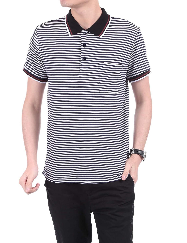 Lantusi Mens polo shirt short sleeve striped collar casual tank tops