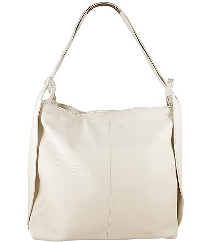163037987c20e Freyday 2in1 Damen Handtasche Rucksack Designer Luxus Henkeltasche aus 100%  Echtleder (Beige)