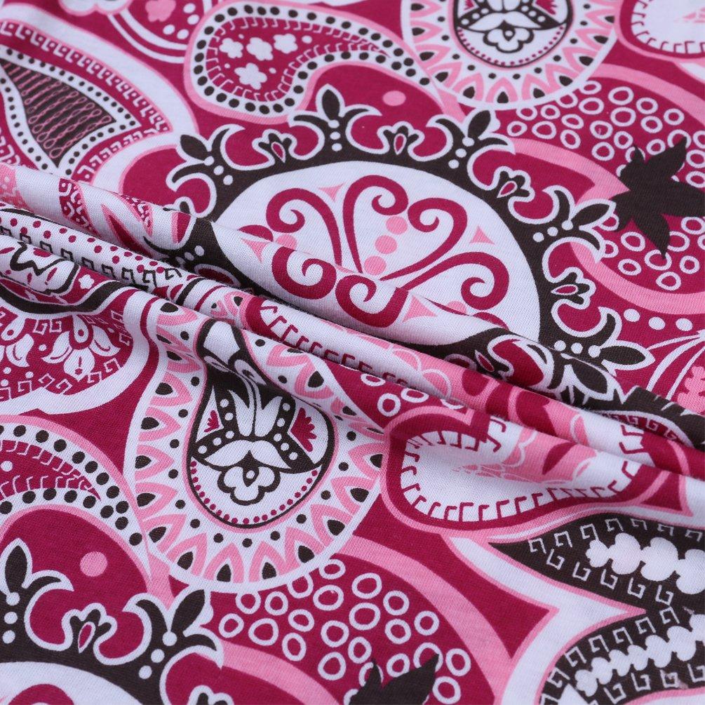 ENJOYNIGHT Women\'s Stretch Cotton Pajama Pants Print Sleepwear (One Size (fits for S-XL), Black Drop)