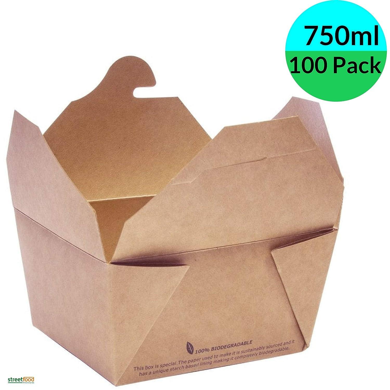 Cajas Kraft de comida para llevar, 750ml, 40 unidades, marron ...