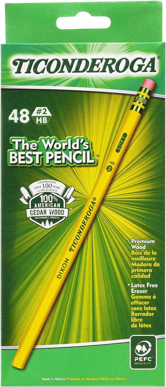 TICONDEROGA Pencils, Wood-Cased, Unsharpened, Graphite #2 HB Soft, Yellow, 48-Pack (13922)