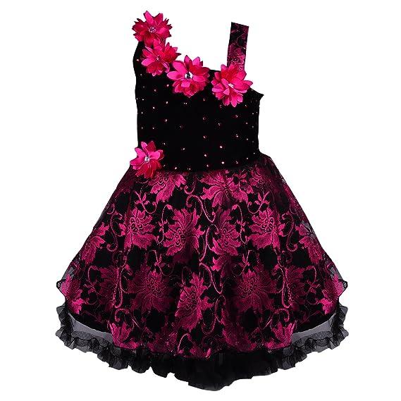 6221bc8d0c214 Wish Karo Baby Girls Frock Dress (Pink/red/Gold/Silver-Net): Amazon ...