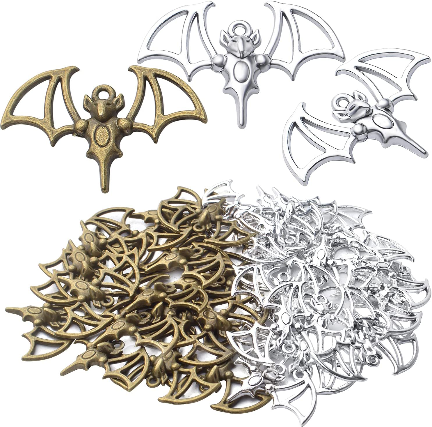 40pcs Bat Pendant Charms Alloy Halloween Flittermouse Flying Vampire Bat Charms Pendants Animal Bead Charms Craft Supplies for DIY Bracelet Jewelry Making Finding,33.1mm×22.5mm