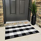 Buffalo Plaid Rug 24 x 36 Inch for Layered Hello Door Mats Washable Black and White Checked Indoor or Outdoor Rugs Carpet for