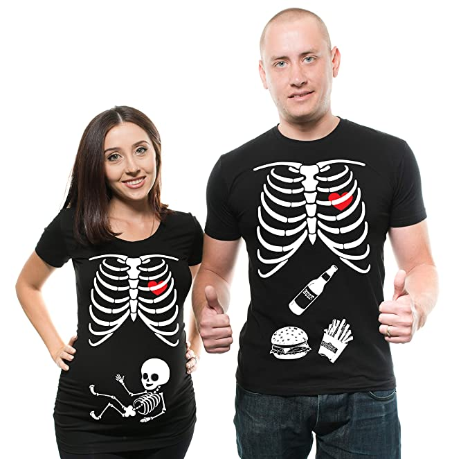 Skeleton Maternity Halloween Couple Matching Shirts Pregnancy Tees X-Ray Skeleton T-Shirt... Men Medium - Women Large
