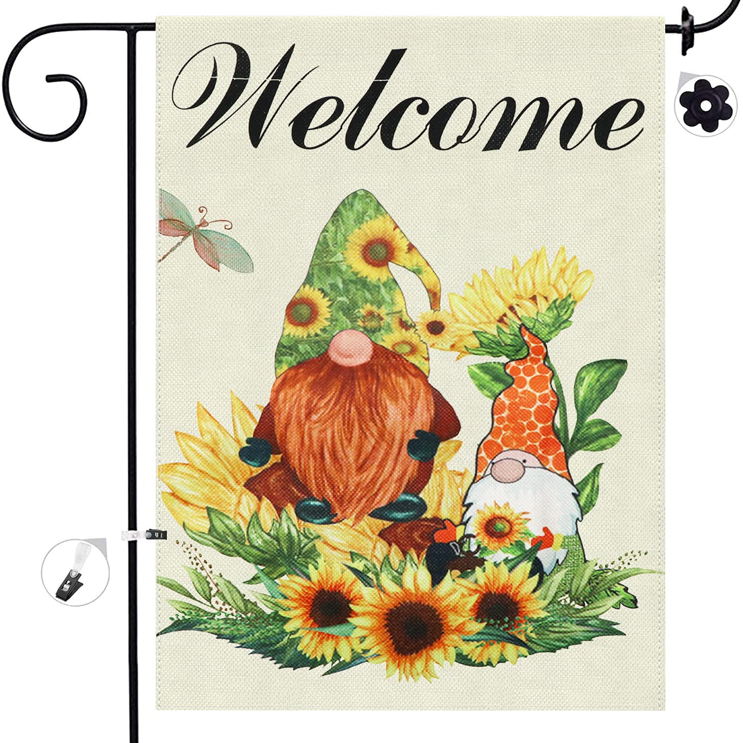 Summer Welcome Garden Flag Sunflower Gnome 12.5X18.5 Inch Burlap Double Sided Vertical Yard Banner for Outdoor Indoor Home Decoration