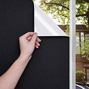 Beautyhero Blackout Window Film Sun Blocking Privacy Frosted Static Cling Window Tint Covering 100% Sun Light Blocking Removable Anti Glare Reflective Film for Home Black White 17.7x78.7 Inches