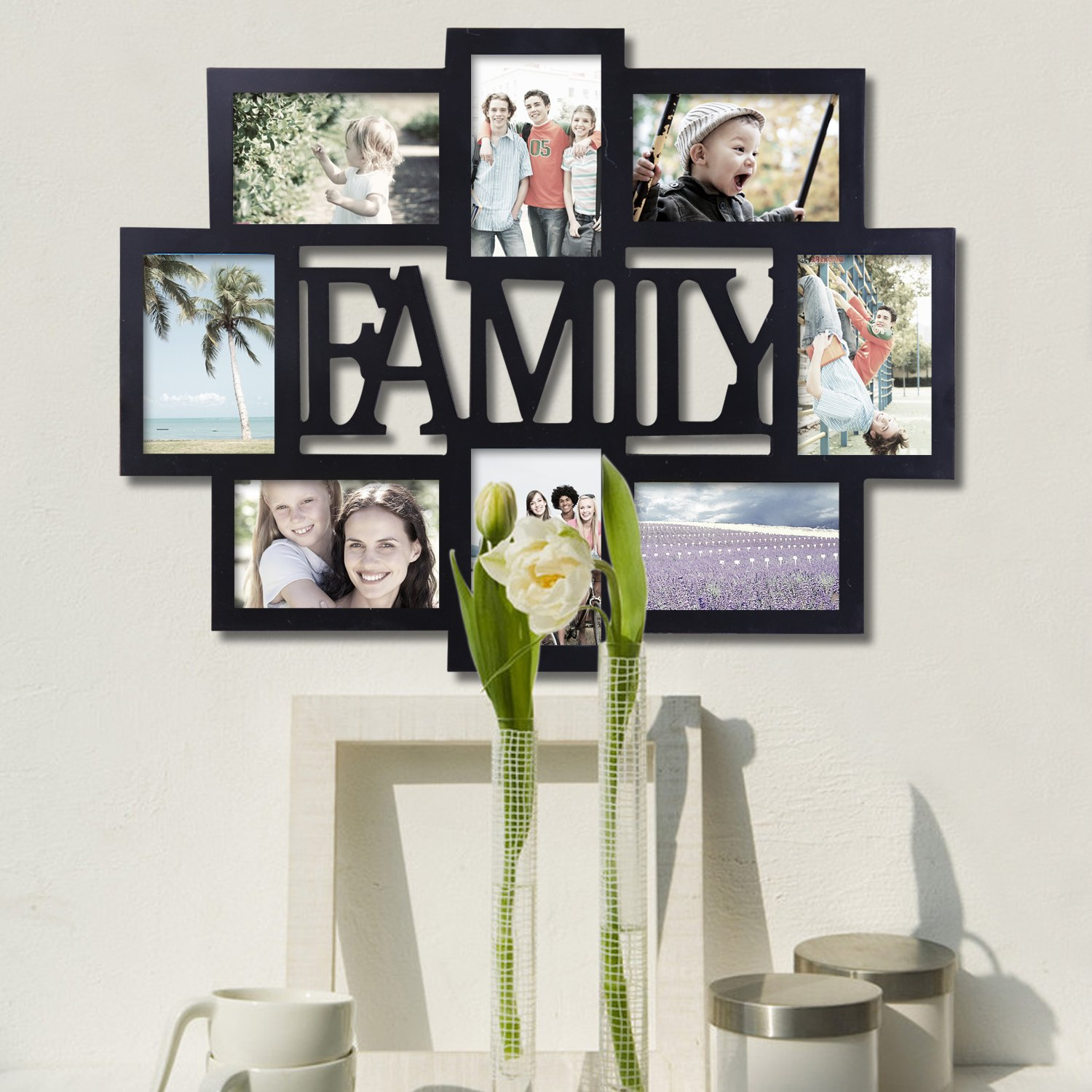 1e0c5992cb7 Adeco PF0432 Black Wood Family Wall Hanging Collage Photo Frame