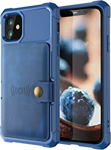 Case Compatible with 12 Pro Max 5G 2020 6.7 PU Leather Durable High Capacity Blue Fashion Cover Shell Unisex Protective Cash Credit Card Holder Kickstand