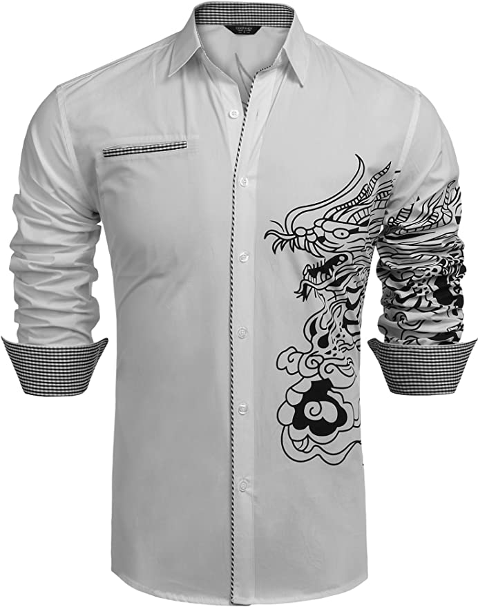 COOFANDY Men's Stylish Print Button Down Shirt Long Sleeve Casual Dress Shirt