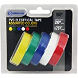 Cambridge Premium Electrical Tape 5 rolls, 1/2 Inch x 20 Feet per roll.100 Feet total. Contains most popular colors- Yellow, Green, Blue, White, Red.