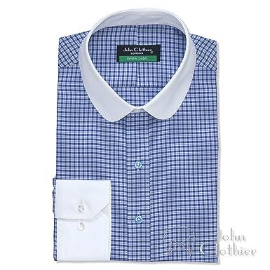 3cf22982f7e31 WhitePilotShirts Round Collar Mens Bankers Shirt Blue Checks 100 ...
