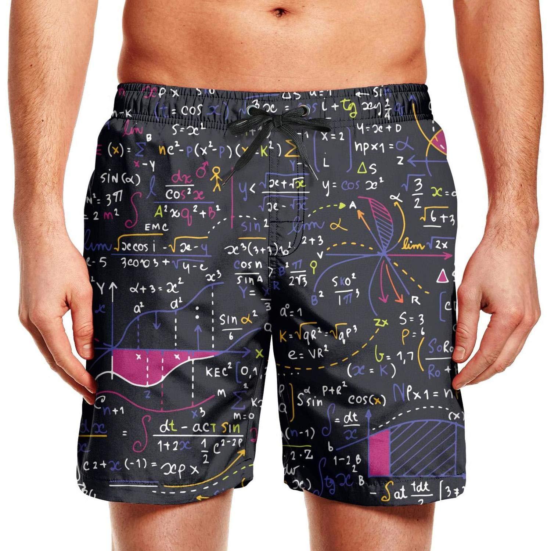 WCAO Math Equations Scientific Formulas Board Shorts Mens Summer Holiday Short