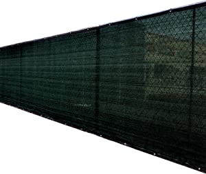 8'x50' 8ft Tall 3rd Gen Black Fence Privacy Screen Windscreen Shade Cover Mesh Fabric (Aluminum Grommets) Home, Court, or Construction