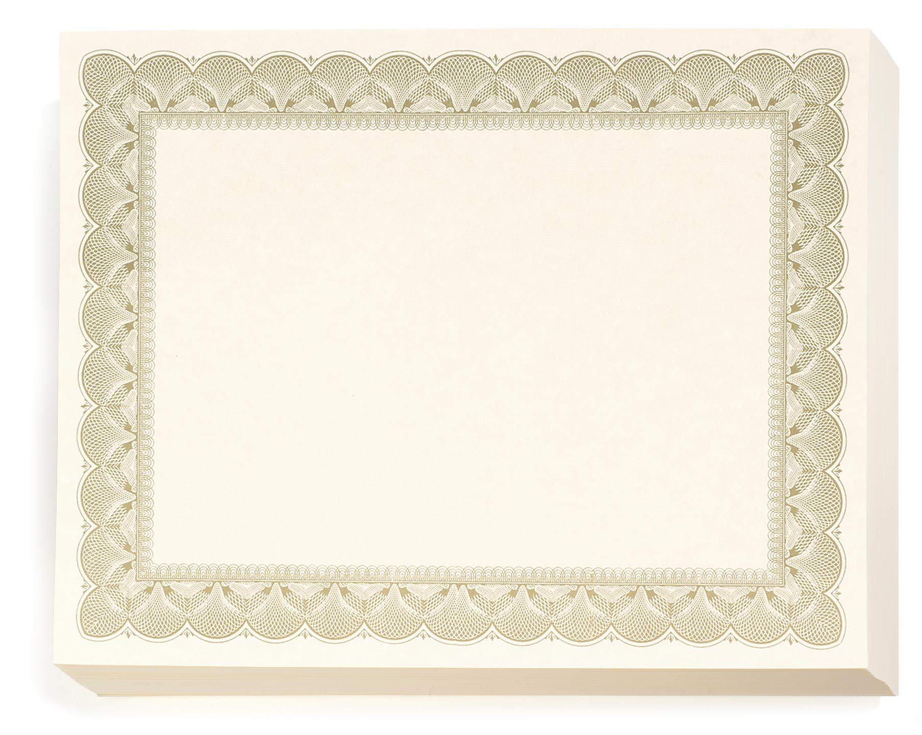 Gold Metallic Traditional Metal Colored Standard White Parchment Certificates, 8.5 x 11, 100 Count by PaperDirect