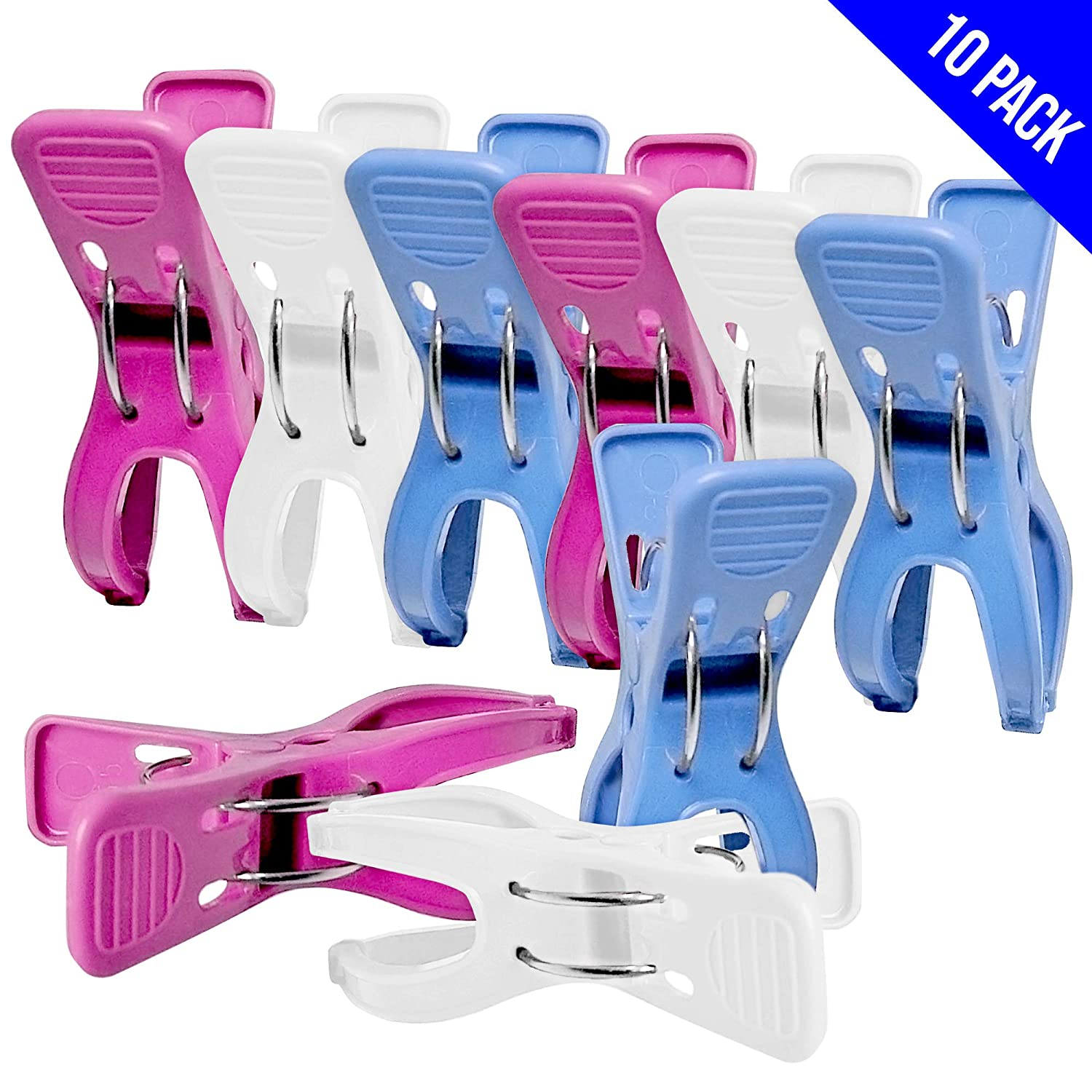 Towel Pegs 10 pcs. Durable Beach Towel Clips for Sunbeds in Bright Colours Hold in Place your Large Beach Towels in the Summer or your Heavy Laundry. (Multi) Volila