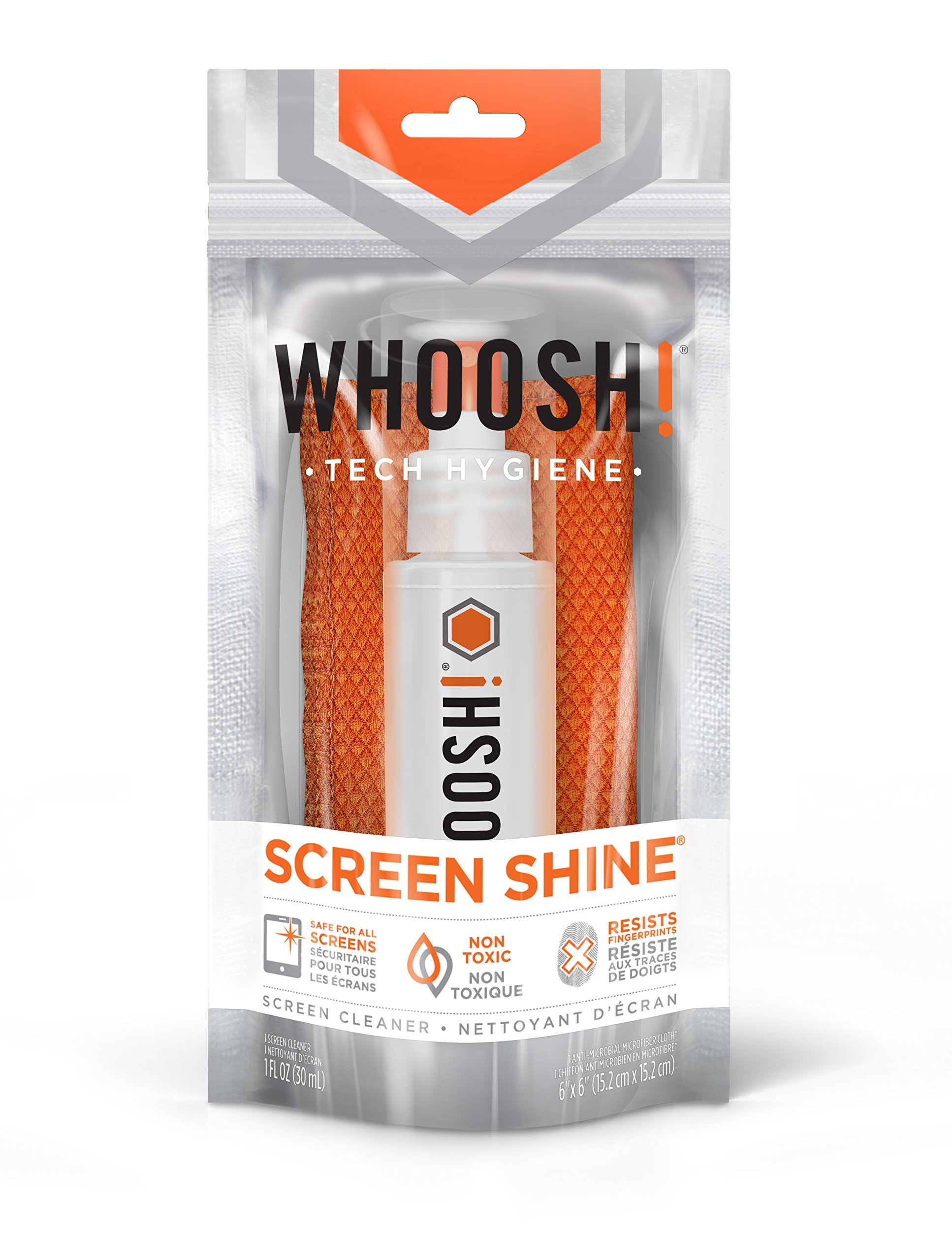 WHOOSH! Award-Winning Screen Cleaner – Safe for All Screens – Smartphones, iPads, Eyeglasses, Kindle, LED, LCD & TVs – Includes 1 Oz Bottle + 1 Premium Antimicrobial Microfiber Cloth