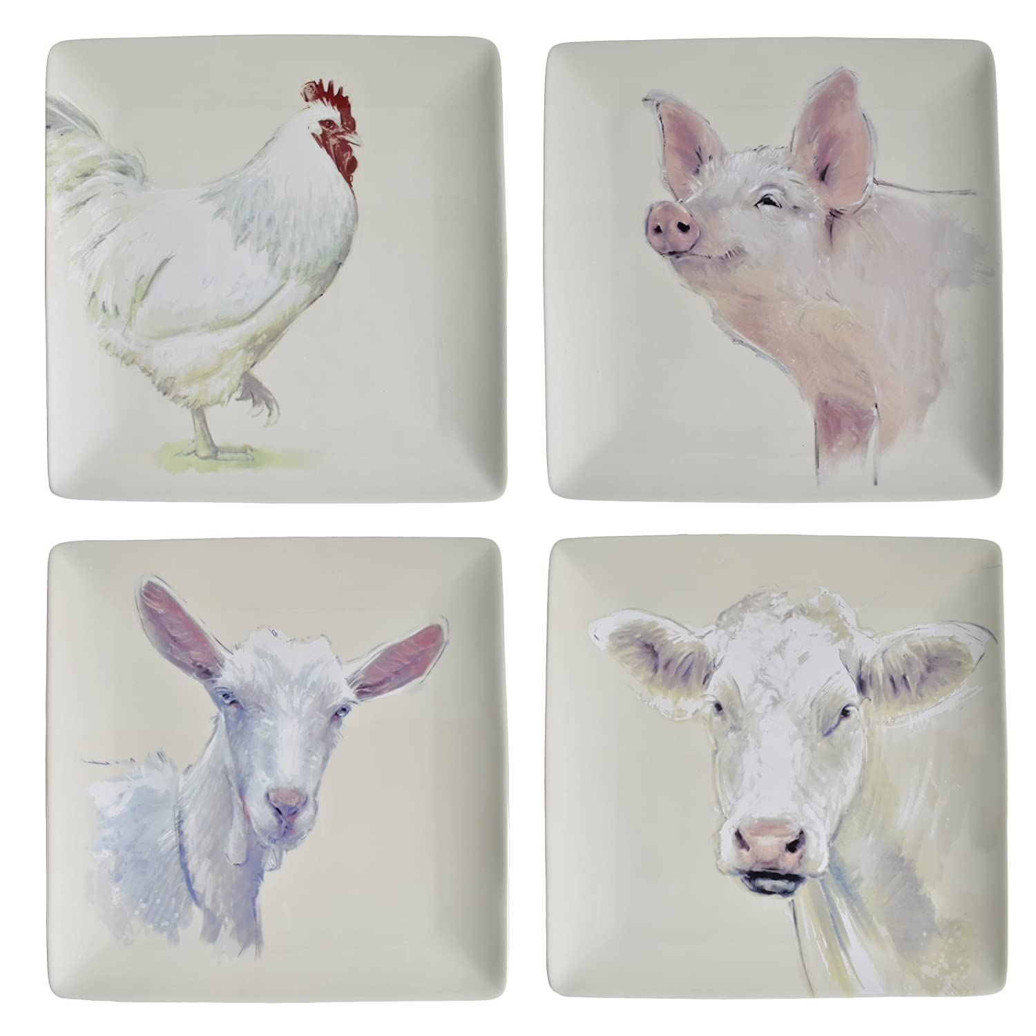 Square Farm Animal Plates (Set of 4) by Creative Co-op   B01BW5FXO4