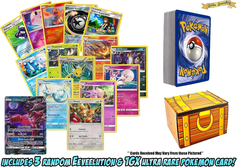 Lote de 50 Tarjetas de Pokémon con Eevee – 3 Evoluciones aleatorias de Eevee – Bonus 1 Random GX Ultra Rare! Incluye Caja de Tesoro Golden Groundhog.: Amazon.es: Juguetes y juegos