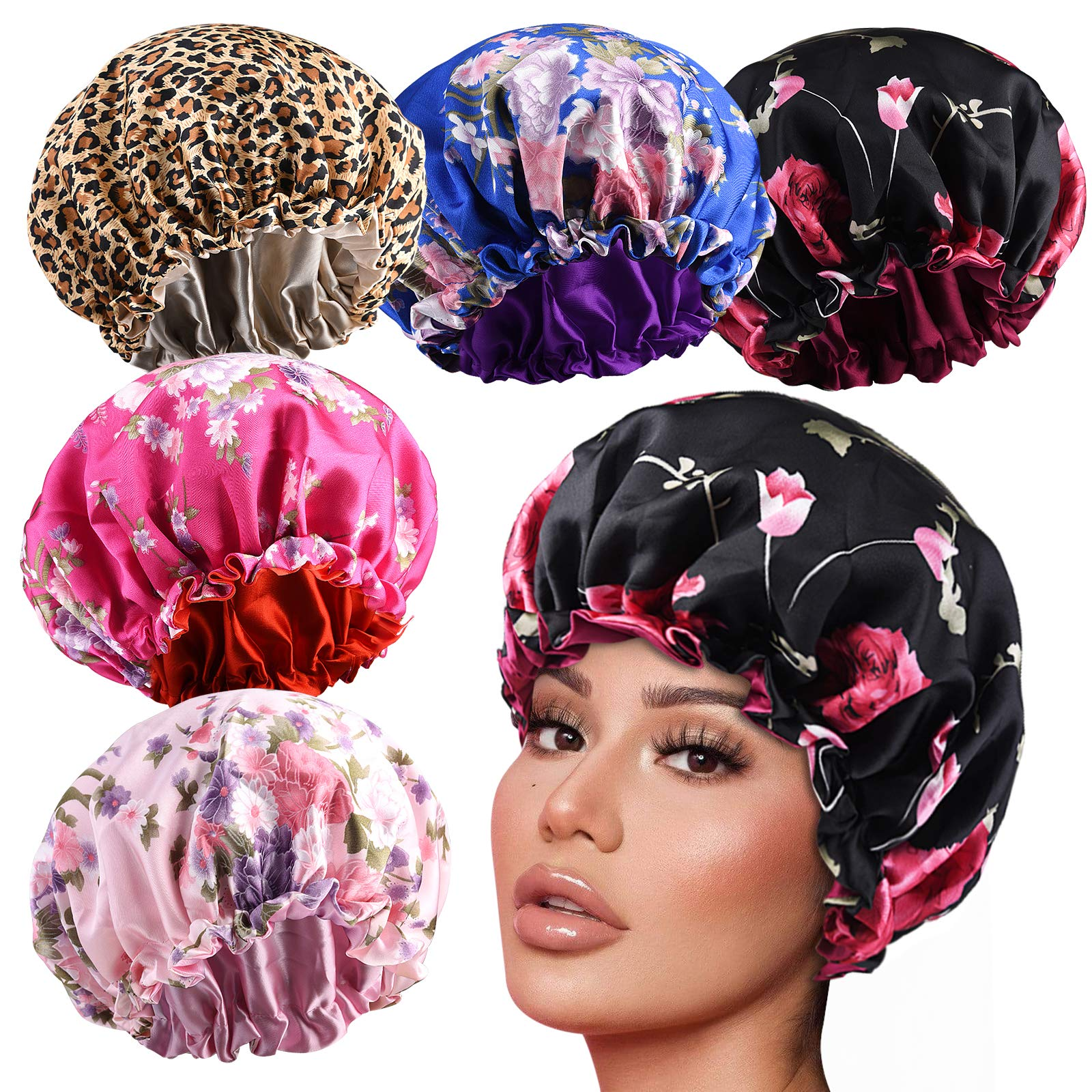 5pcs Drawstring Large Satin bonnet for Black Women Double Layer Reversible Silk