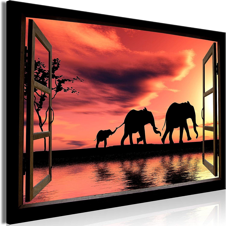 murando Cuadro en Lienzo Vista de la Ventana 120x80 cm 1 Parte Impresión en Material Tejido no Tejido impresión artística fotografía decoración de Pared Elefante Africano c-C-0376-b-a