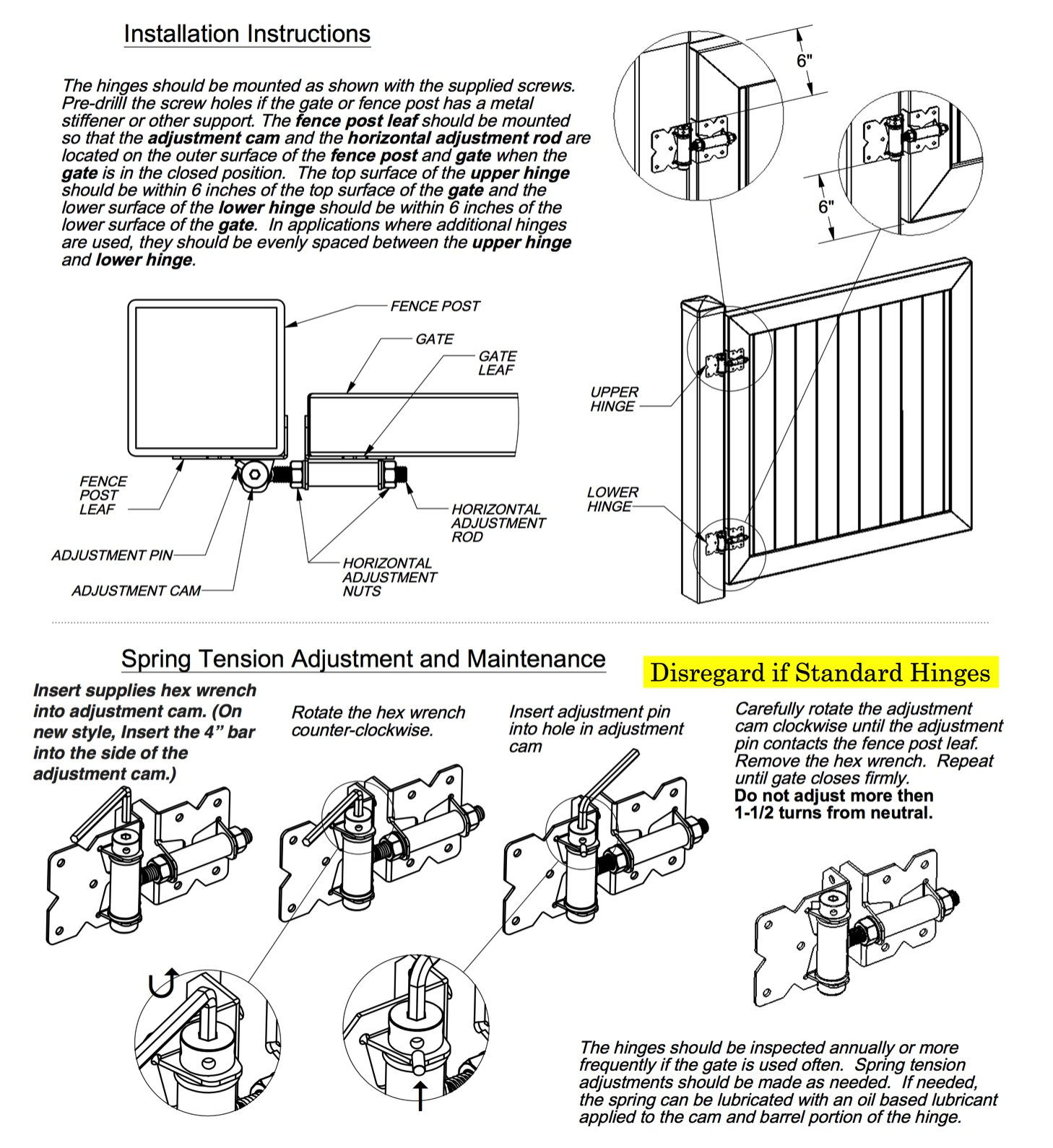Self Closing Vinyl Fence Gate Single Gate Hardware Kit Black (for Vinyl, PVC etc Fencing) Fence Gate Kit - Single Fence Gate Kit has 2 Hinges and 1 Latch w/Screws (Lockable Both Sides)