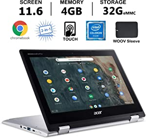 "Acer Chromebook Spin 311 Convertible Laptop, 11.6"" HD Touch, Intel Celeron N4020, UHD Graphics 600 4GB RAM, 32GB eMMC SSD, Bundle with Woov Accessories, Chrome OS, Silver"