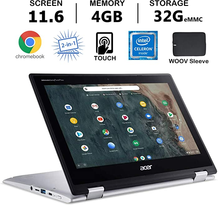 """Acer Chromebook Spin 311 Convertible Laptop, 11.6"""" HD Touch, Intel Celeron N4020, UHD Graphics 600 4GB RAM, 32GB eMMC SSD, Bundle with Woov Accessories, Chrome OS, Silver"""