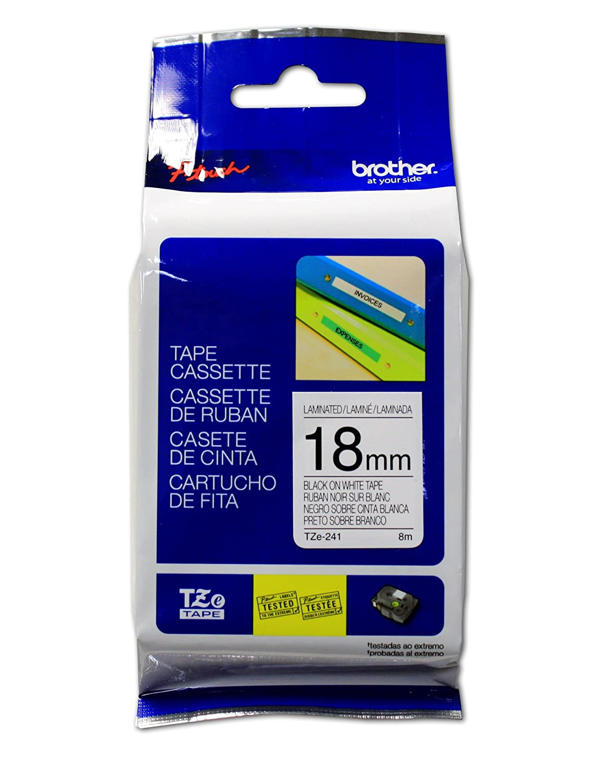 Brother TZE241 Genuine P-Touch Tape (18mm Black on White) Office Supplies