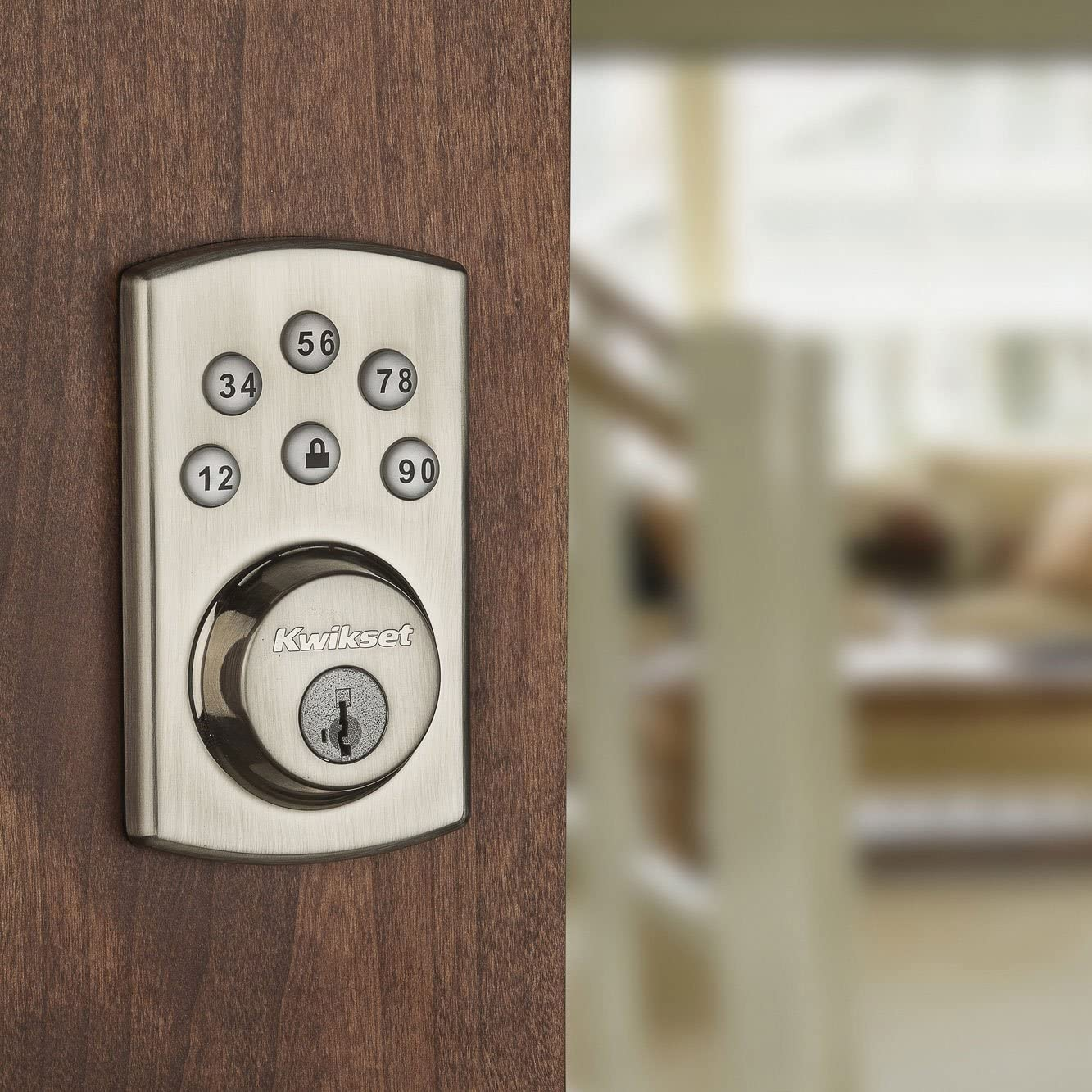 Satin Nickel Kwikset 907 Powerbolt 2.0 Electronic Deadbolt Featuring SmartKey with Tustin Passage Lever