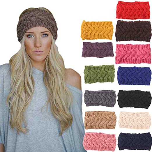 b9a0c9886a4 Owill 1PC Women Knitted Headbands Winter Warm Head Wrap Wide Hair  Accessories (Beige)