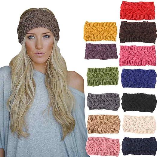 15b8f4e9e68 Owill 1PC Women Knitted Headbands Winter Warm Head Wrap Wide Hair  Accessories (Beige)