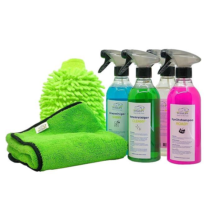 Detailify Autopflegeset Taily All in One Autoreinigungsset Autowaschset Innenreiniger Außenpflege Felgenreiniger Waschhandsch