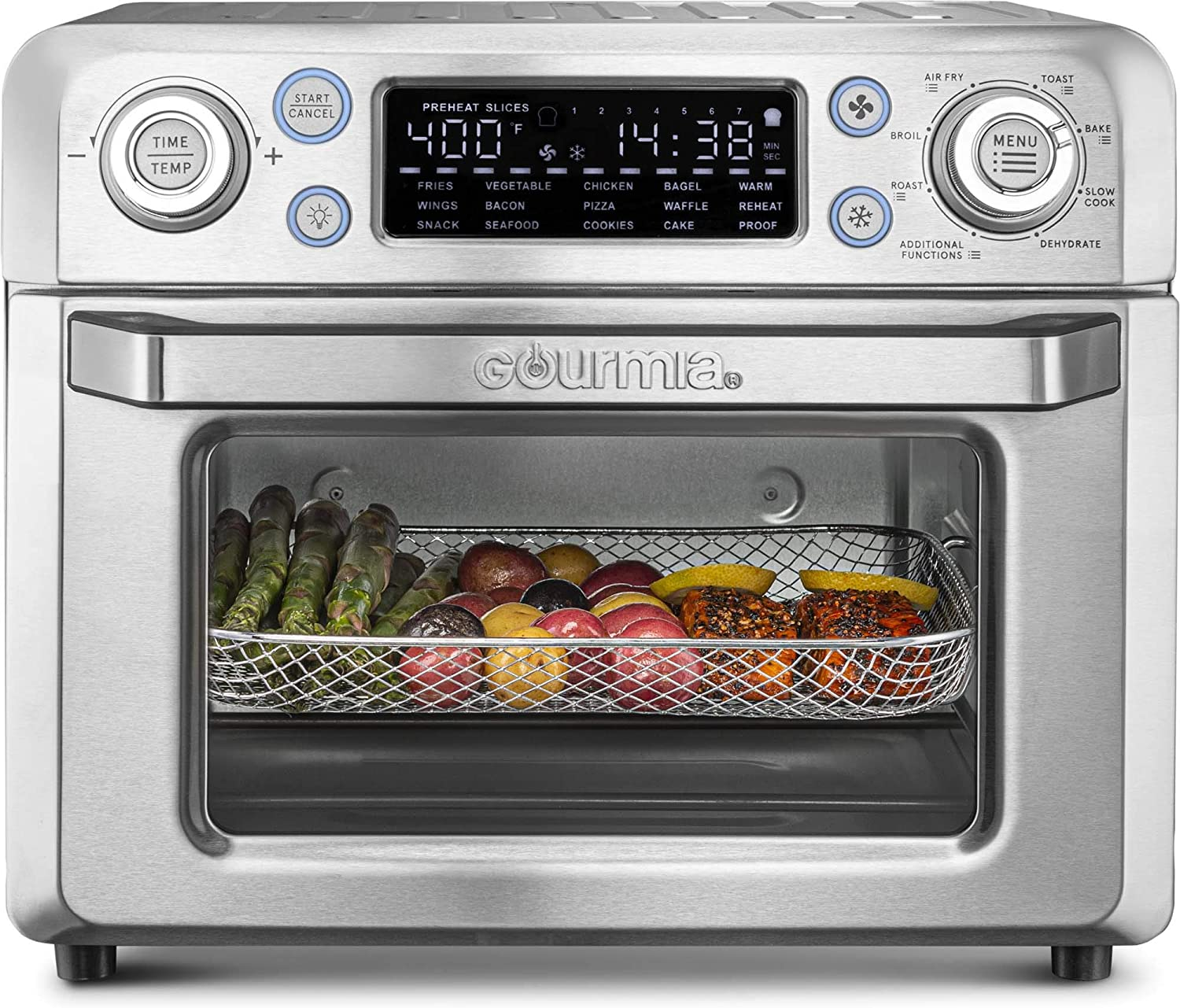 Gourmia GTF7650 24-in-1 Multi-function, Digital Stainless Steel Air Fryer Oven - 24 Cooking Presets with Convection Mode - Fry Basket, Oven Rack, Baking Pan & Crumb Tray, Includes Recipe Book