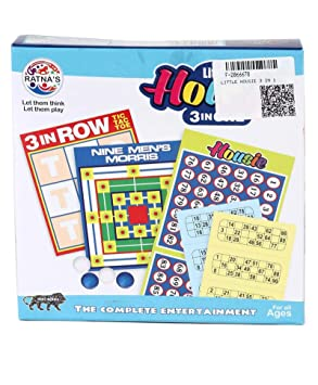 RATNAS Little HOUSIE 3 in 1. 3 in 1 Game Fun for Kids and Family.(HOUSIE,Nine Mens Morris,TIC TAC Toe